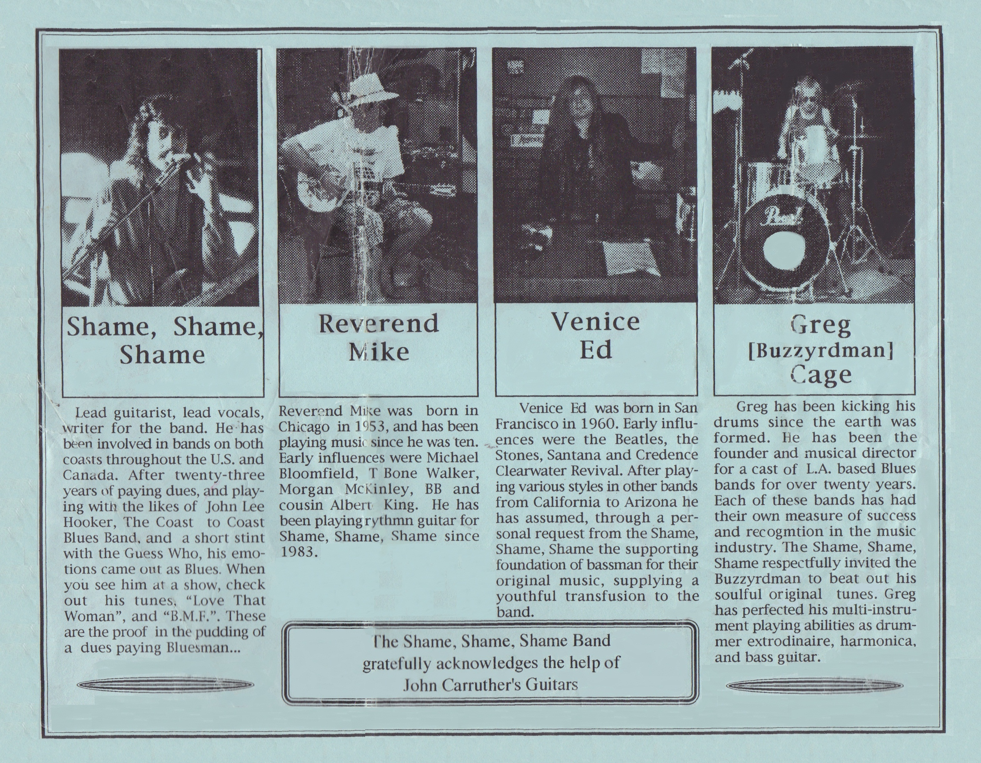 """Vintage Bio for Shane O'Brien Press Kit 1983"""