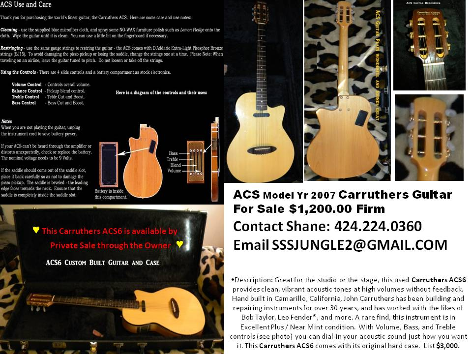 Carruthers ACS6 Custom Guitar 2007