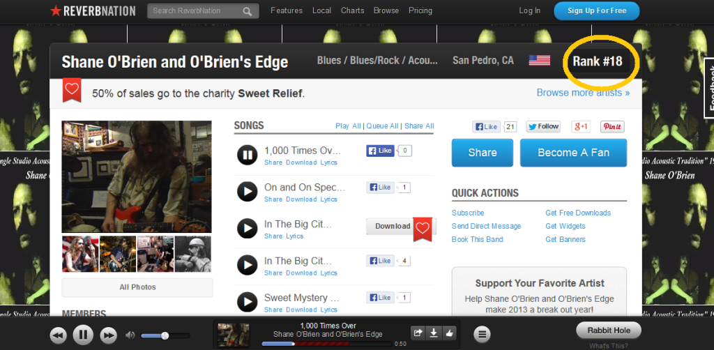 reverbnation Los Angeles No 18