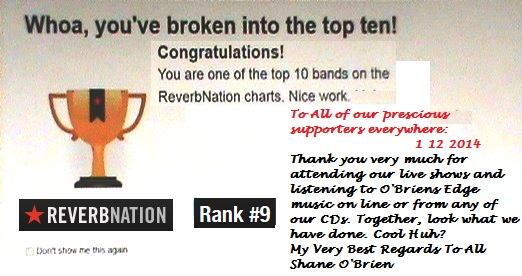 """Shane O'Brien Ranks #9 at ReverbNation Los Angeles"